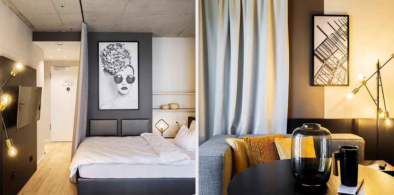 Ansicht des Betts und des Wohnraumes eines JOYN Serviced Apartments Basic