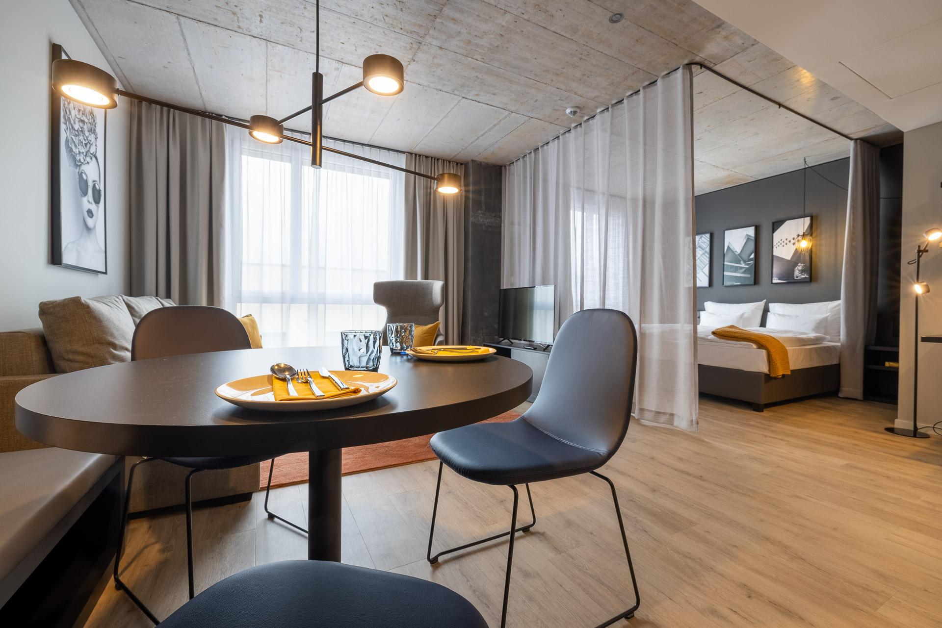 Blick in das Serviced Apartment Kategorie Studio plus